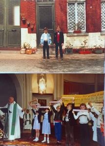 Photo d'une messe en l'église Saint Sépulcre pour le départ de l'Abbé Hespel. Une autre lors de ma communion privée dans la cour de l'école Dominique Savio... Tout cela n'existe plus...